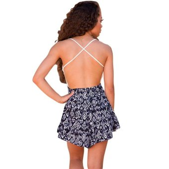 Strap V Neck Lace Casual Jumpsuit Romper Sexy Backless Chiffon Print Playsuit Women Boho Floral Short Overalls - intl