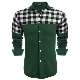 Linemart COOFANDY Men Fashion Long Sleeve Plaid Patchwork Button Down Casual Shirts ( White ) - intl