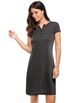 Cyber Women 4-Button Short Sleeve Solid Summer Casual Tunic Dress ( Dark Grey ) - intl