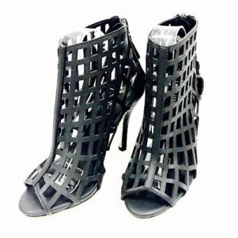 Giày cao gót thời trang lazer cut (Đen)