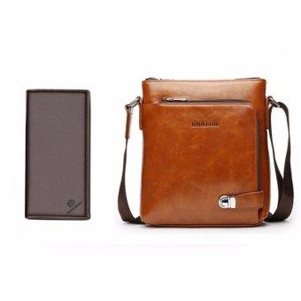 Bộ túi da và ví da màu nâu DT2417