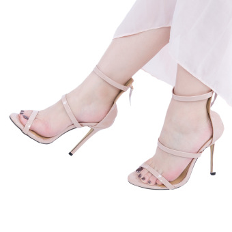Sexy Strap Zipper Decoration Thin High Heel Gladiator Sandals(Nude) - intl