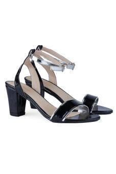 Giày cao gót nữ hở mũi LARA HMF890 (Đen bạc)