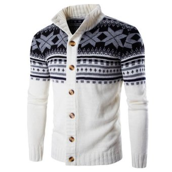 Male Christmas Cardigan Sweater Winter Plus Size Mens Sweaters Long Sleeve Jacket Casual Knitted Sweater Coat Knitwear (White) - intl