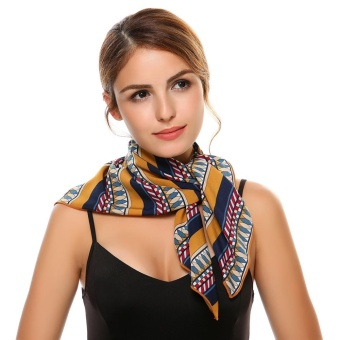 Cyber Women Fashion Retro Style Large Satin Square Cotton Silk Feeling Hair Scarf ( Multicolor ) - intl