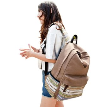 Unisex Canvas Backpack Rucksack School Satchel Hiking Bag Bookbag Khaki