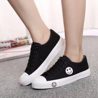 Giày thể thao đế thấp đơn giản hình mặt cười màu đen TT124