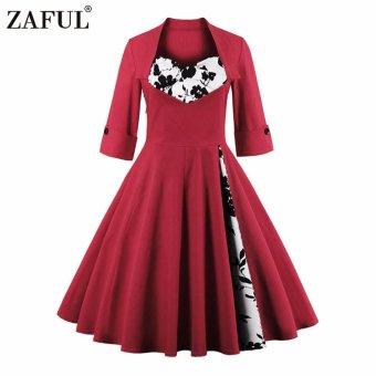 Zaful Women Vintage 3/5 Length Sleeve Dress Hepburn Style Ball Gown(Red 01#) - intl