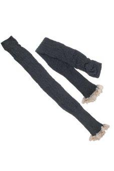HKS Cotton Leg Warmers Crochet Knit Lace Trim Boot Socks Knee High Stockings Lady Light Grey - intl