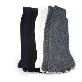 4 Pairs Thin Cotton Men Five Fingers Separate Sock Antibacterial Deodorant Toe Socks (Intl)
