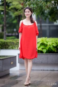 Đầm suông 2 lớp CC24N (Đỏ)