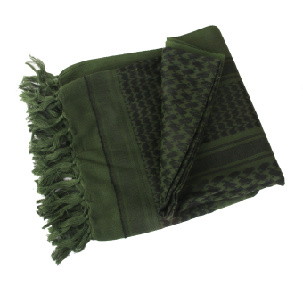Outdoor Tactical Military Keffiyeh Pure Cotton Square Scarf Army Green - Intl