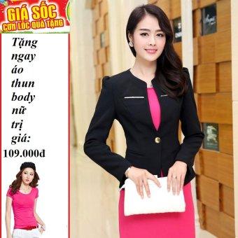 Áo vest nữ phối nẹp kim loại (đen ) + Tặng 1 áo thun body nữ