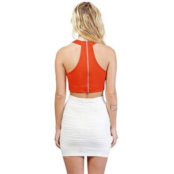 Sexy Halter Neck Sleeveless Thoracic Zipper Women's Vest S Orange - intl