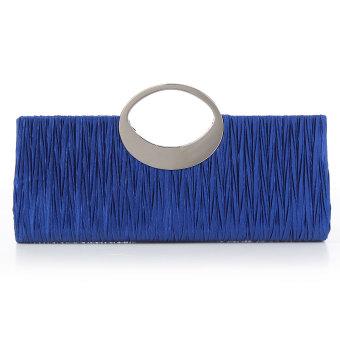 Women Evening Wedding Cystal Bags Purse Satin Clutch Box Handbags Blue - Intl