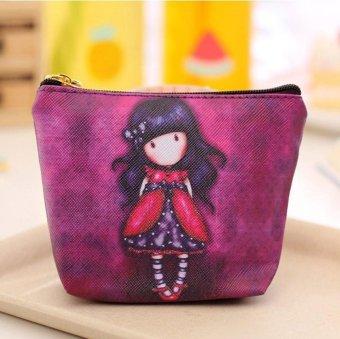 Women Cartoon Girl Zipper Coin Purse Card Bag Wallet Handbag - intl