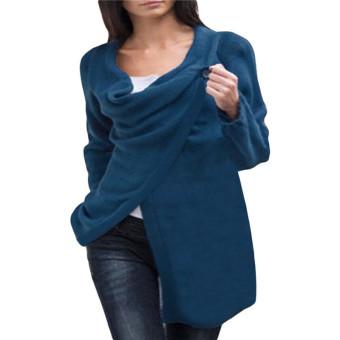 ZANZEA Women Cowl Neck Button Poncho Long Sleeve Cardigan (Intl)