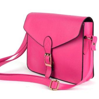 Linemart Preppy Style Women Lady Designer Satchel Shoulder Bags Messager Purse Handbag Tote Bag ( Rose Red ) - intl