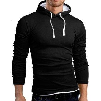 Autumn Men Sweatshirt 2016 Fashion Hooded Sportswear Solid Slim Fit Hoodies Sweatshirts Plus Size Pullovers Tracksuit (Purplish Blue) - intl