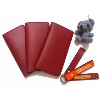 Bóp Ví Da Dài Unisex Cầm Tay Abu90 Udo (Màu đỏ rượu vang)