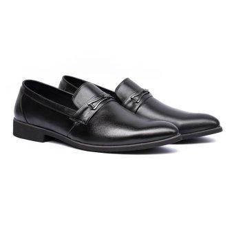 Giày Lười Da Bò Cao Cấp Leo Luxury (Đen)
