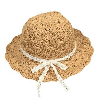 Children Babies Kids Summer Large Brimmed Hollow Beach Straw Sun Hat Cap Khaki