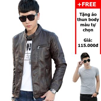 Áo khoác da cao cấp A19 (Nâu đen) + Tặng áo thun body nam