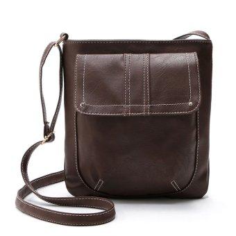 Womens Leather Satchel Cross Body Shoulder Messenger Bag Coffee