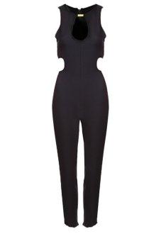 Cyber Sleeveless Long Backless Jumpsuit Romper (Black) - intl