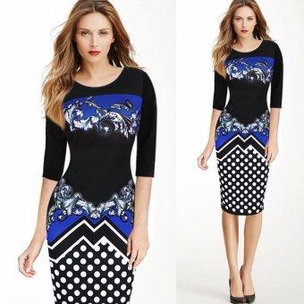 Kenancy Women Elegant Printing Dress Fashion Polka Dot Retro Style Half Sleeve Sheat Dress(Blue) - intl