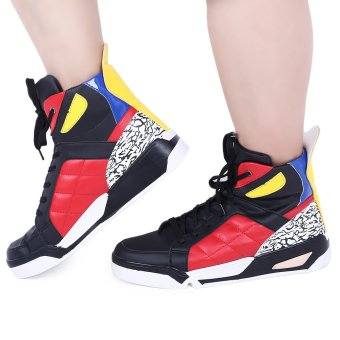 Casual Monster Design Color Block Male Dunk High Shoes(Red) - intl