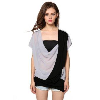 Sunweb Finejo Women Casual Low Cut V-Neck Short Sleeve Chiffon Patchwork Loose Blouse Tops ( Gray ) - intl