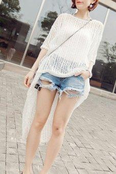 Linemart Sunscreen Swimwear Bikini Cover Up Knit Top (White) - intl