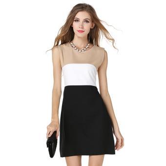 Đầm nữ ngắn không tay cổ tròn trơn đơn giản công sở dạo phố Urban Horizon FM0039