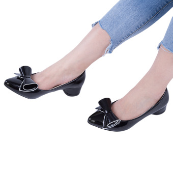 Fashionable Pointed Toe Bowknot PU Leather Low Heel Shoes(Black) - intl