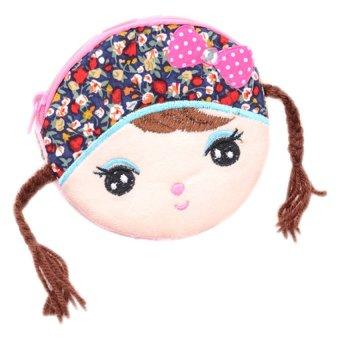 Fancyqube Cute Girl Zipper Zero Wallet Cion Purse (Multicolor)