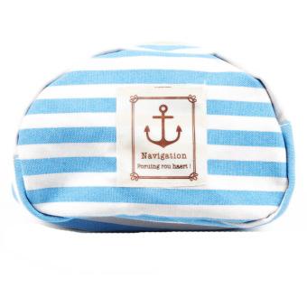 Fancyqube Fashion Makeup Bag Pencil Cosmetic Pouch Purse Canvas Blue - intl