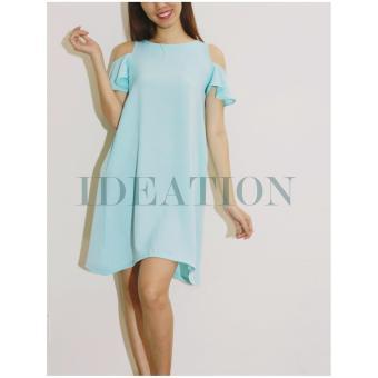 Ideation Đầm xòe A hở vai tay bèo-2423 (Xanh lá)