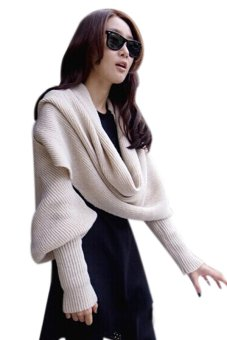Lalang Wool Knitted Shawl Beige - Intl