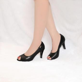 Giày nữ hở mũi cao gót 8cm da bò thật cao cấp màu đen ESW111