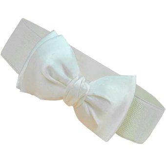 Fashion Women Bowknot Elastic Wide Stretch Buckle Waistband Waist Belt Beige