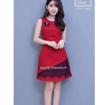 Đầm Xoè Sát Nách Viền Ren (Đỏ)