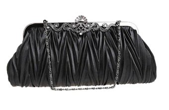 niceEshop Womens Vintage Satin Envelope Cocktail Evening Bag Party Handbag,Black - Intl