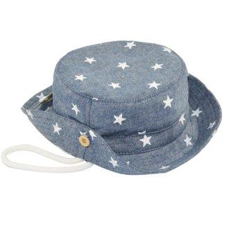 Cute Baby Kid Boy Girls Denim Bucket Style Summer Sun Beach Hat Cap Sun Protection Breathable for 6 Months-3 Years Old Kids Denim Blue - intl