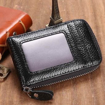 Linemart Mens/Womens Fashion Mini Synthetic Leather Wallet ID Credit Cards Holder Organizer Purse ( Black ) - intl