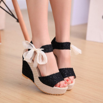 Sexy Lace Shoes Peep Toe Wedge Womens Platform High Heel Pump Sandals Bowknot - Intl