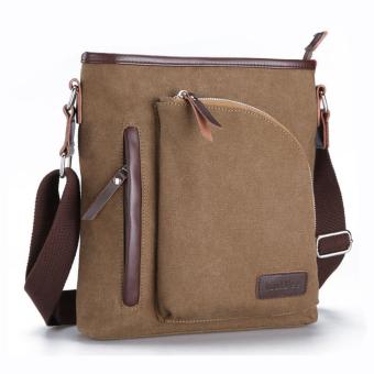Túi xách nam đeo chéo vải bố chi tiết da trẻ trung V016 ( Nâu )
