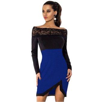 Cyber Sexy Women Slash Neck Lace Patchwork Side split Party Club Bodycon Irregular Mini Dress ( Blue ) - Intl