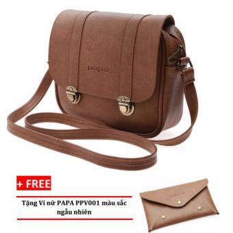 Túi đeo chéo PAPA PPT004 (Bò Nhạt) + Ví nữ PAPA PPV001