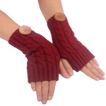 Hemp Flowers Fingerless Knitted Gloves Red - Intl